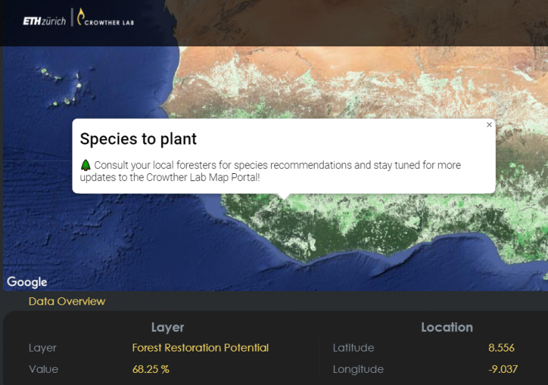 crowther lab forest restoration potential